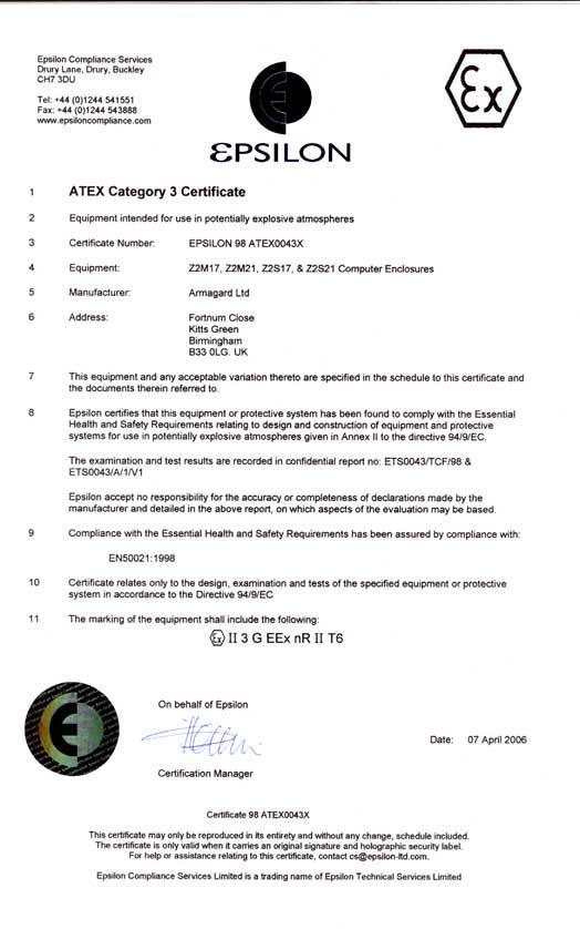 Certificado de los armarios Atex Zona 2