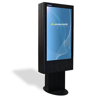 Totem LCD en Acero Templado Epoxi Poliester con fondo blanco y sombra
