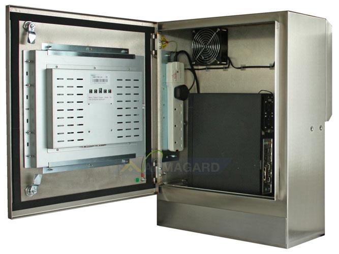 Armario pantalla táctil lavable compacto SENC-350 - vista lateral puerta abierta