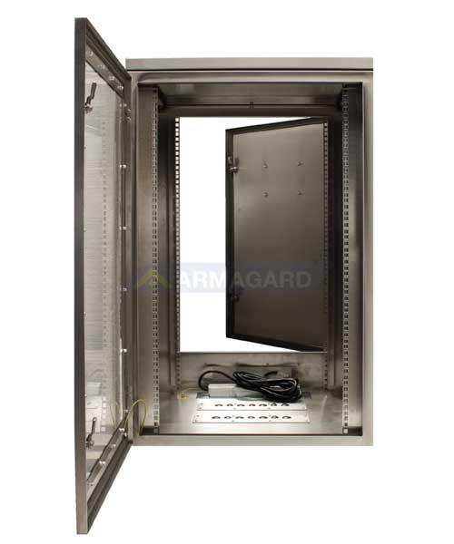 armario rack resistente al agua - puertas frontal y trasera abiertas